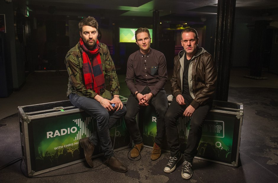 Liam Fray of Courteeners with Chris Moyles and Producer Dave
