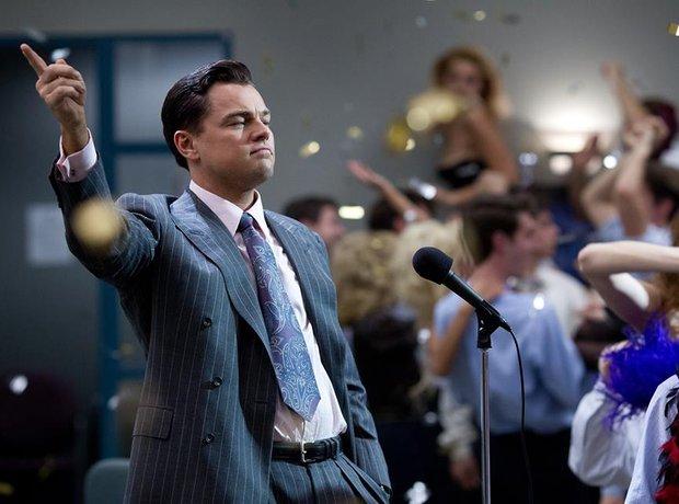Leonardo DiCaprio in a grey suit