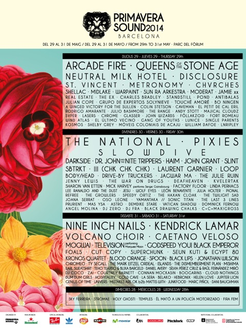 Primavera Sound 2014 flyer