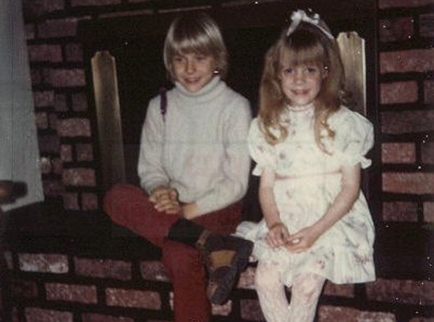 Kurt Cobain with sister Kim