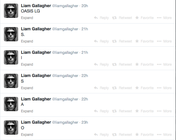 Liam Gallagher Oasis tweet