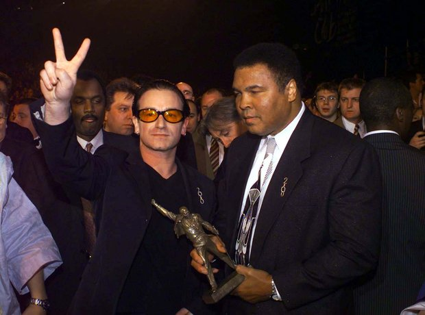 Bono and Muhammed Ali at the BRIT Awards 2000