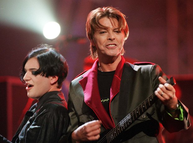 David Bowie and Brian Molko of Placebo at the BRIT