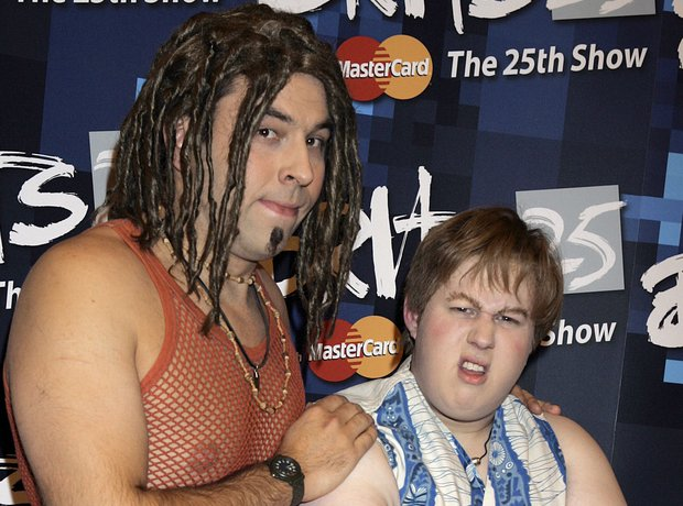 David Walliams and Matt Lucas as Take That at the