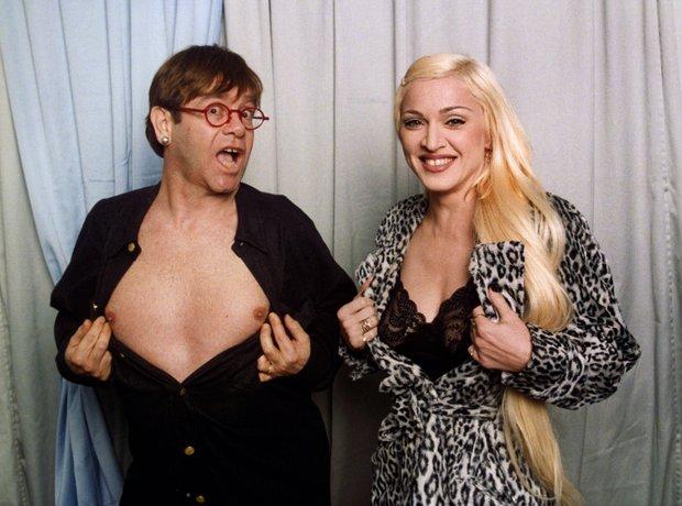 Elton John and Madonna at the BRIT Awards 1995