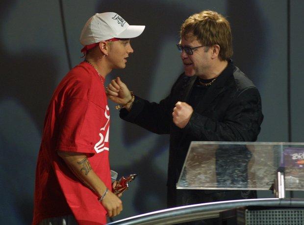 Eminem and Elton John at the BRIT Awards 2001