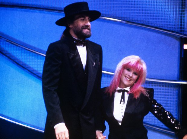 Mick Fleetwood and Sam Fox at the BRIT Awards 1989