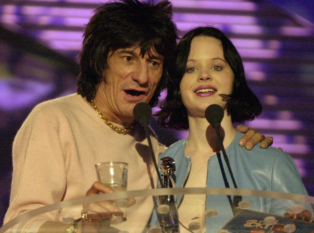 Ronnie Wood and Thora Birch at the BRIT Awards 2000
