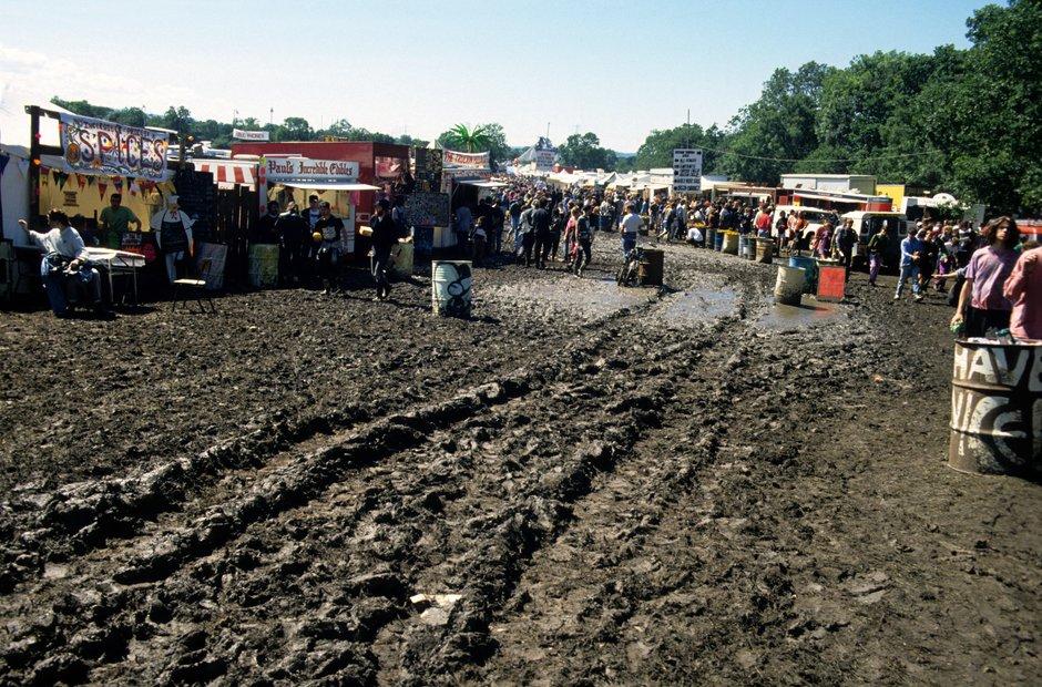 Glastonbury mud 1990