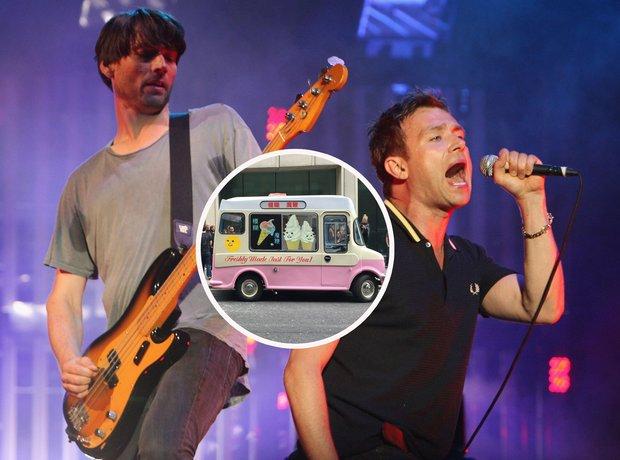 Blur Brits with magic whip van inset