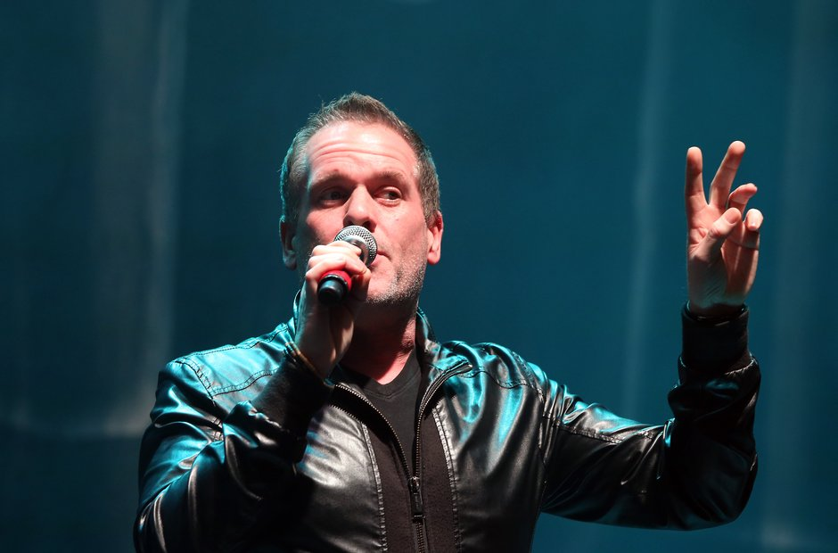 Chris Moyles onstage in Manchester for the Radio X