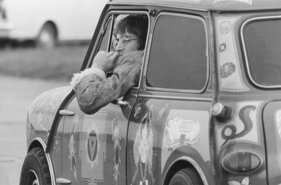 John Lennon during the filming of Magical Mystery