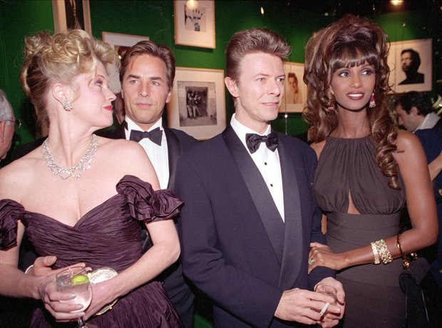 David Bowie and Iman with Don Johnson and Melanie