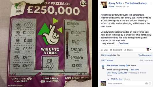 Jonny Smith National Lottery Attempt on Facebook