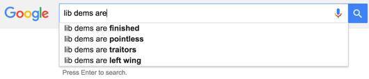 Lib dem google search sreengrab