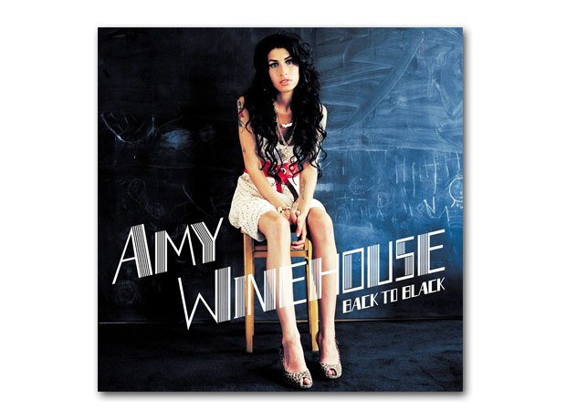 Amy Winehouse Back To Black LP artwork with backgr