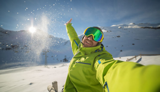 Man ski selfie stock photo