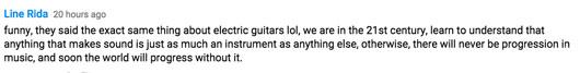 YouTube Comment on Rythym Guita Lina Rida