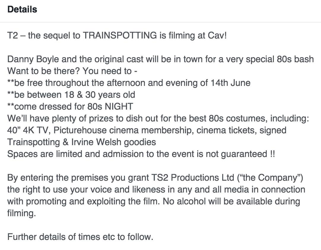 The Cav Trainspotting 2 Facebook event description
