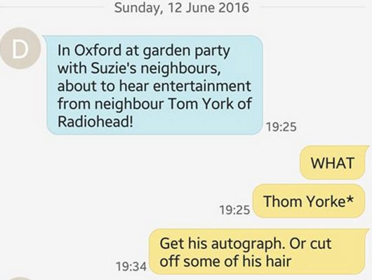 Screengrab text between redditor and dad Thom York