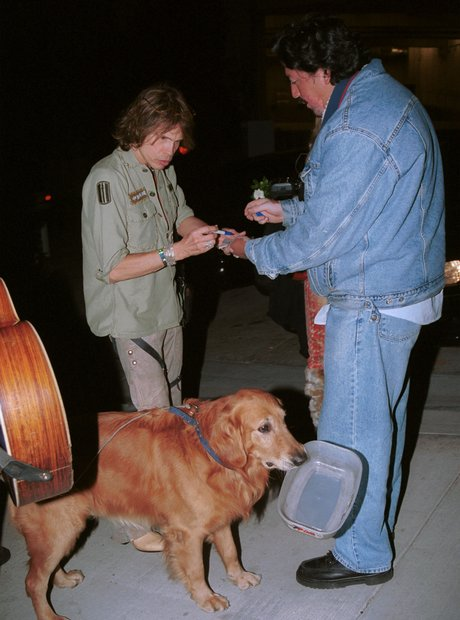 Steven Tyler of Aerosmith with dog