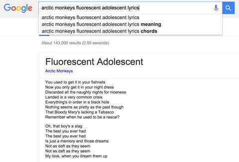 Arctic Monkeys Fluorescent Adolescent Lyrics Searc