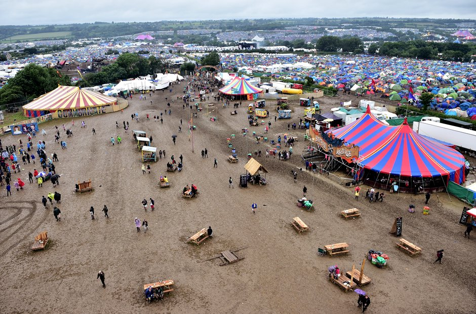 Glastonbury 2016 Sunday - View Of The Festival Sit