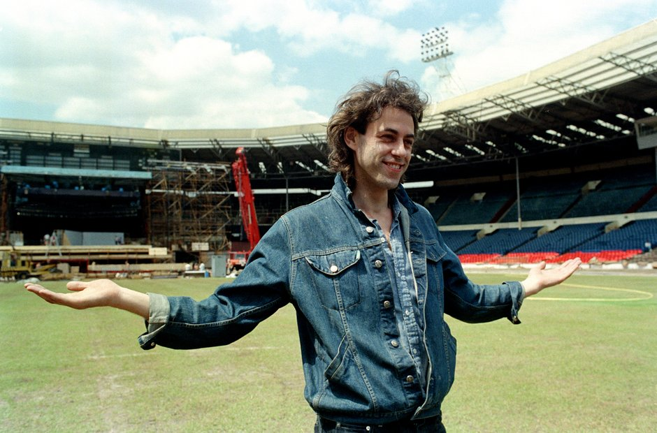 Bob Geldof in an empty Wembley Stadium