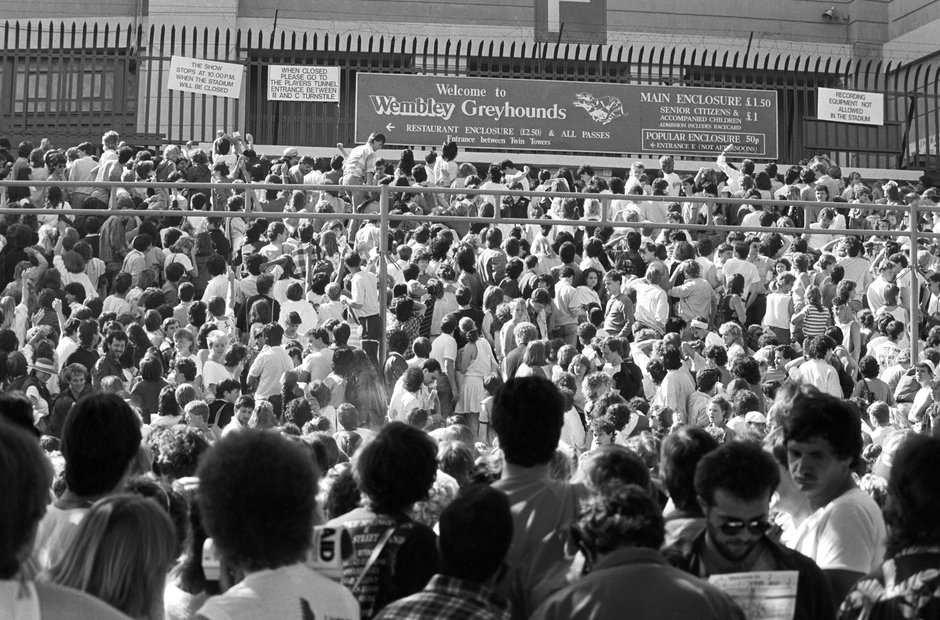 Crowds arrive for Live Aid at Wembley Stadium