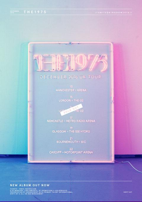The 1975 UK tour poster December 2016