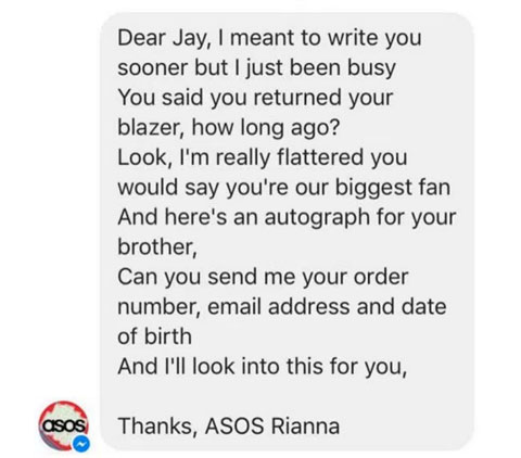 Man Complains To ASOS and Gets Epic Response scree
