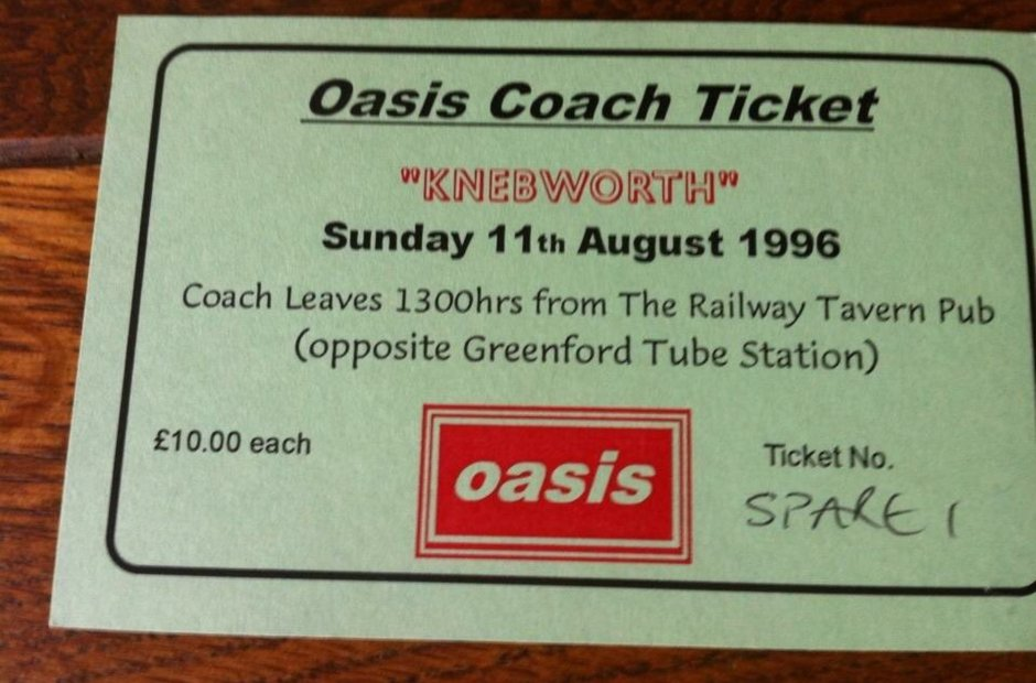Oasis Knebworth 1996 coach ticket