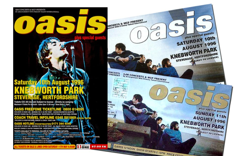 Oasis Knebworth poster and tickets