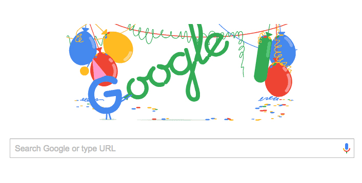 Google 18th birthday doodle