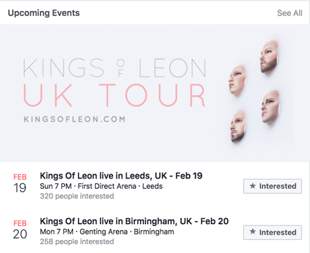 Kings Of Leon UK Tour Event Announcement screen