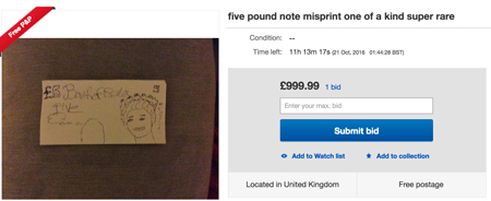 eBay hand drawn 5 pound note image