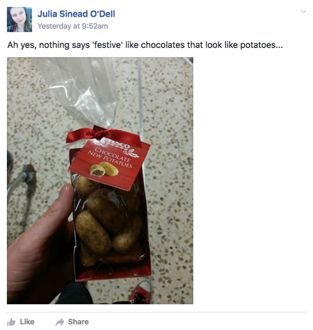 Facebook screen grab chocolate new potatoes