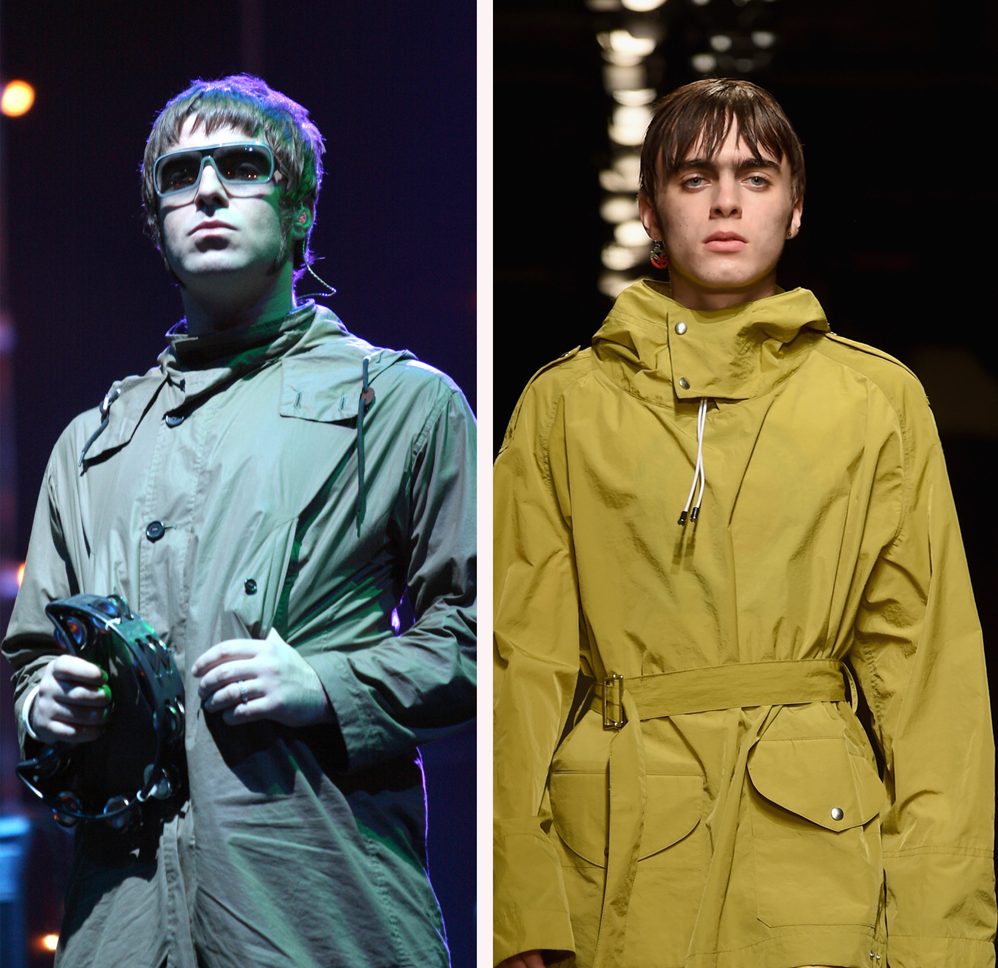 Liam Gallagher and son Lennon split screen image G
