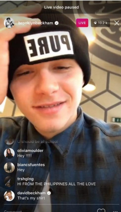 Brooklyn son David Beckham Instagram Live post