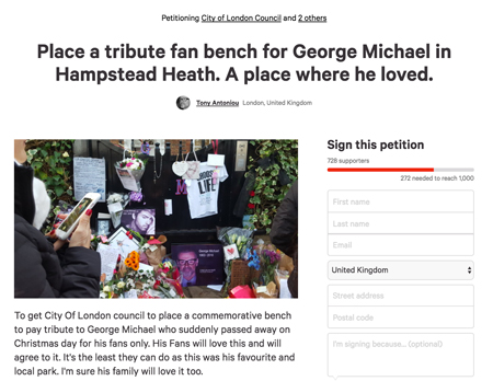 George Michael change.org petition Hampstead Heath