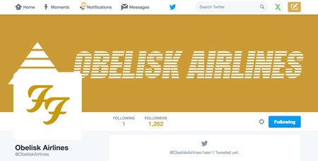 Foo Fighters Obelisk airlines Twitter account stil