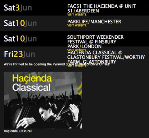 Hacienda Classical Graeme Park website Glasto anno