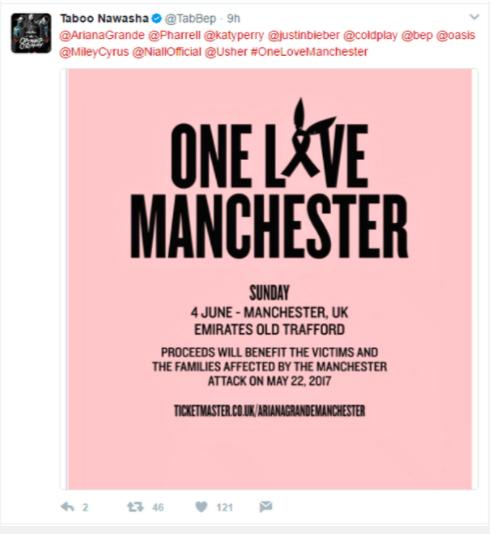Black Eyed Peas Taboo Tweet One Love Manchester