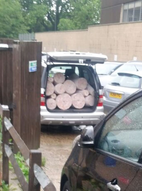 Doner kebab stored in the back of a car 480