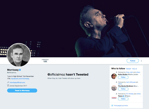 Morrissey Twitter account screengrab 480x353