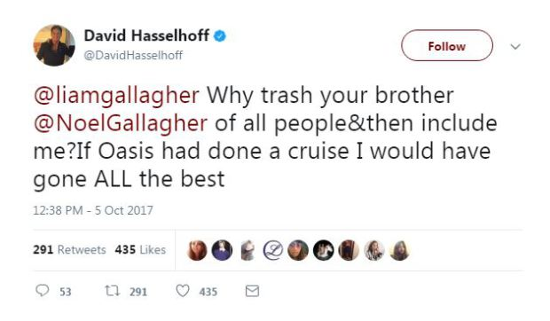 David Hasselhoff tweets Liam Gallagher