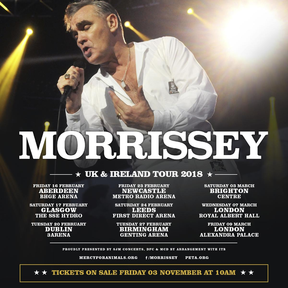 Morrissey 2018 UK & Ireland Tour image