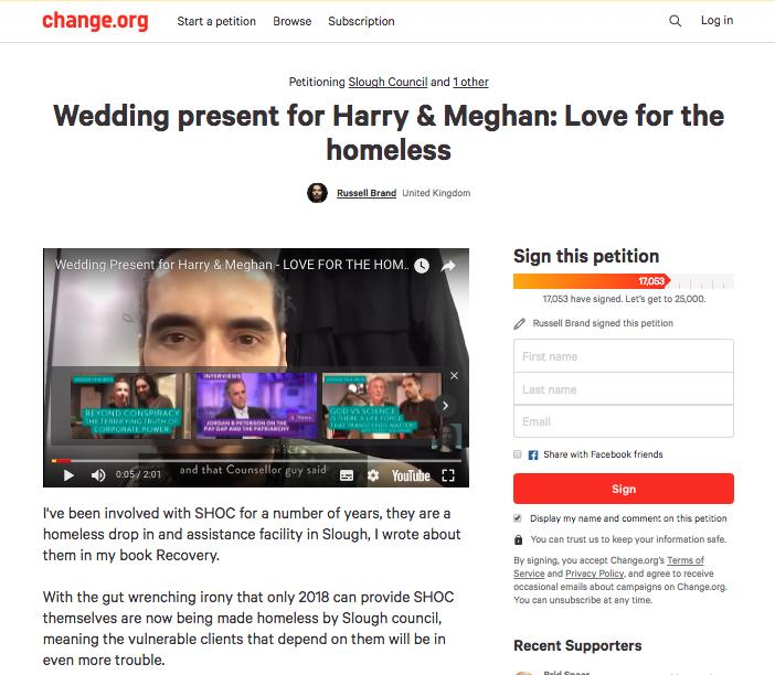 Russell Brand launches petition for Harry and Megh