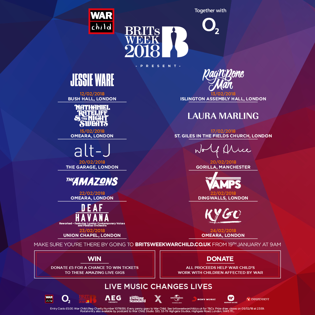 War Child BRITs Week 2018