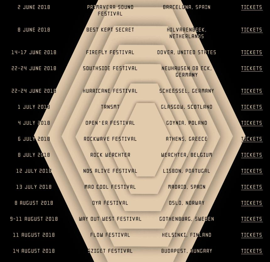 Arctic Monkeys' website festival dates 2018